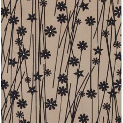 Kočárkovina MAT, Kytičky se stonky tmavě hnědé na béžové, šíře 160 cm, 10 cm, Atest 1