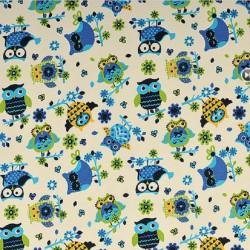 Kočárkovina MAT, Modré, žluté a zelené sovy na smetanové, šíře 160 cm, 10 cm, Atest 1