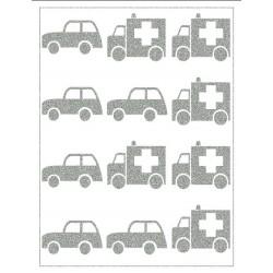 Reflexní nažehlovací potisk - Autíčka a sanitky (12 ks)