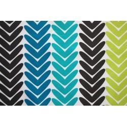 Kočárkovina MAT, Stromeček barevný - tyrkysový, tmavě šedý, zelený, modrý na bílém, šíře 160 cm, 10 cm, Atest 1