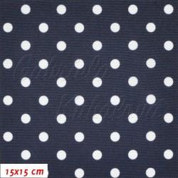 Kočárkovina LESK, Bílé puntíky na granátové modré, 2. jakost, šíře 160 cm, 10 cm