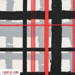 Kočárkovina, Mřížka červenočerná na bílé, 15x15cm