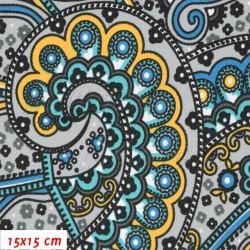 Kočárkovina MAT, Arábie modrožlutozelená, šíře 160 cm, 10 cm, Atest 1