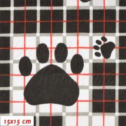 Látka, Tlapky na černých kostkách, 15x15cm