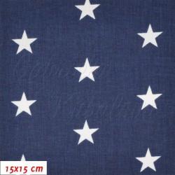 Plátno - Hvězdičky 22 mm bílé na tm. modré, šíře 160 cm, 2. jakost, 10 cm