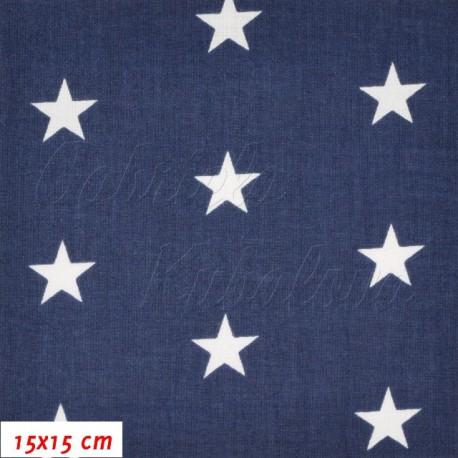 Látka, Bílé hvězdy na tm. modré, 15x15cm