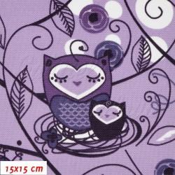 Kočárkovina, Sovy v ráji fialové, 15x15cm