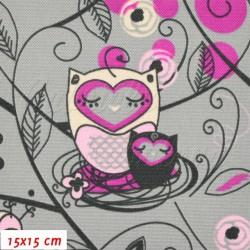 Kočárkovina MAT, Sovy v ráji růžové na šedé, šíře 160 cm, 10 cm, Atest 1