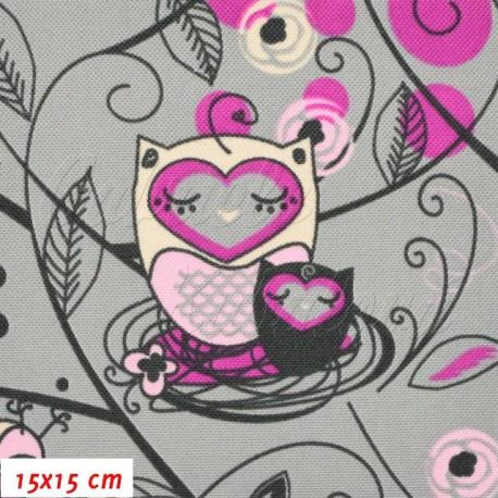 Kočárkovina, Sovy v ráji růžové na šedé, 15x15cm
