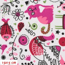 Kočárkovina, Zvířátka s kočkou růžová na bílé, 15x15cm