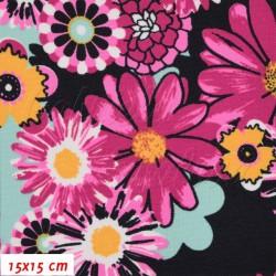 Kočárkovina MAT, Divoká louka růžová na temně modré, šíře 160 cm, 10 cm, Atest 1