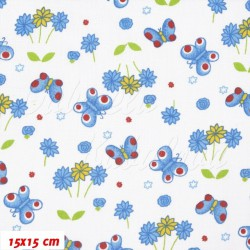 Plátno - Motýlci a kytičky do modra, šíře 140 cm, 10 cm