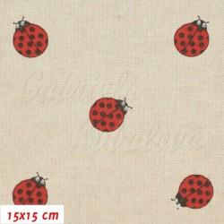 Režné plátno - Červené berušky, šíře 140 cm, 10 cm