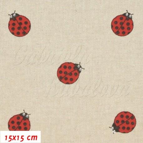 Režné plátno, Červené berušky, 15x15cm