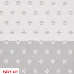 Kočárkovina prošívaná, Kytičky světle a tmavě šedé, 15x15cm