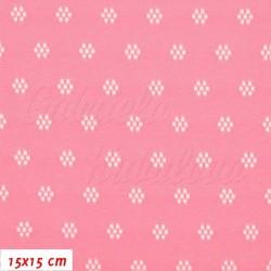 Kočárkovina prošívaná, Kytičky tmavě růžové, 15x15cm