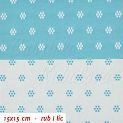 Kočárkovina žakár - Prošívané kytičky bílé a světle modré, šíře 160 cm, 10 cm, ATEST 1