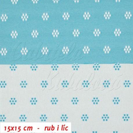 Kočárkovina prošívaná, Kytičky bílé a sv. modré, 15x15cm