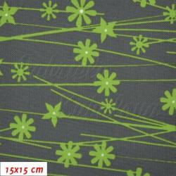 Kočárkovina - Kytičky se stonky zelené na šedé, MAT, šíře 160cm, 10cm