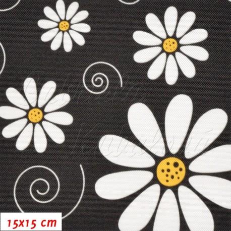 Kočárkovina, Kopretiny na černé, 15x15cm
