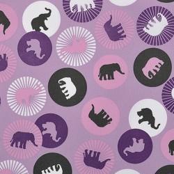 Kočárkovina MAT, Sloni v kolečkách na sv. fialové, šíře 160 cm, 10 cm, Atest 1