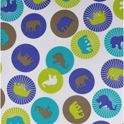 Kočárkovina MAT, Sloni v kolečkách modří a zelení na bílé, šíře 160 cm, 10 cm, Atest 1