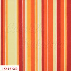 Plátno, Proužky červenožlutooranžové, 15x15cm