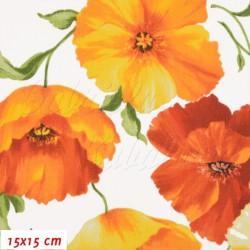 Plátno - Vlčí máky do oranžova na bílé, šíře 160 cm, 10 cm