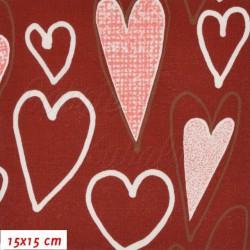 Plátno - Veselá srdíčka na červené, šíře 140 cm, 10 cm