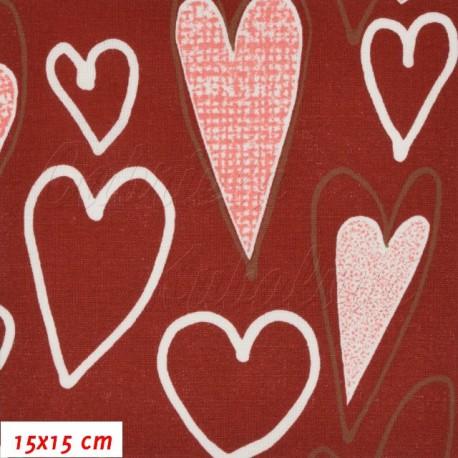 Plátno, Veselá srdíčka na červené, 15x15cm