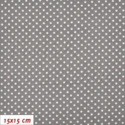 Plátno - Puntíky 2 mm bílé na šedé, K4, šíře 140 cm, 10 cm, ATEST 1