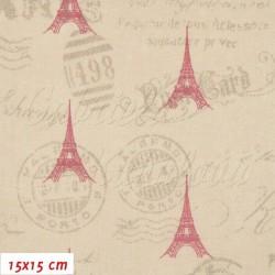 Plátno - Červené Eiffelovky 45 mm na dopisních razítkách, šíře 140 cm, 10 cm