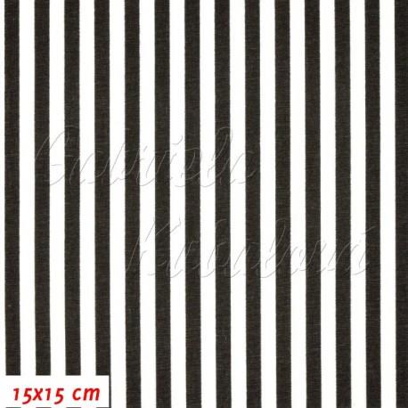 Plátno, Černobílé proužky, 15x15cm
