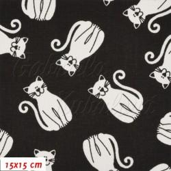 Látka plátno - Kočky 5 cm bílé na černé, šíře 140 cm, 10 cm