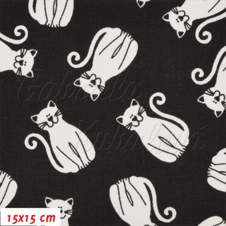 Plátno, kočky 5 cm bílé na černé, 15x15cm