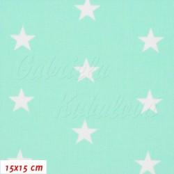 Plátno - Hvězdičky 22 mm bílé na mentolové,2. jakost, šíře 160 cm, 10 cm