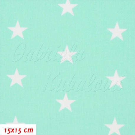 Plátno, Hvězdičky 22 mm bílé na mentolové, 15x15 cm