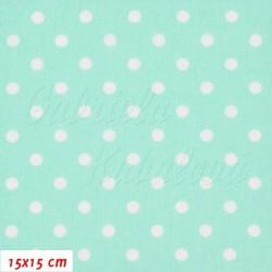 Plátno - Puntíky 7 mm bílé na mentolové, šíře 160 cm, 10 cm, 2. jakost