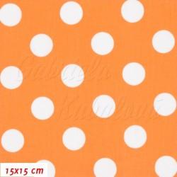 Plátno - Puntíky 2 cm bílé na oranžové, šíře 160 cm, 10 cm