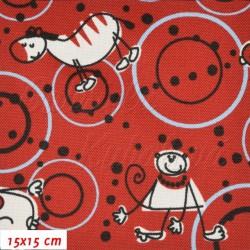 Kočárkovina, Zvířátka s kruhy na červené, 15x15cm