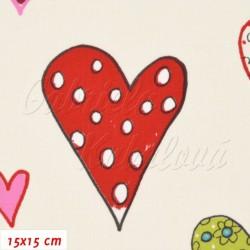 Látka plátno, STOF Srdce AMOR na smetanové, 15x15cm