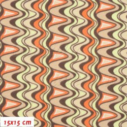 Úplet s EL, Vlnky oranžové sv. zelené hnědé, 15x15cm