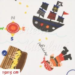 Zbytek - Látka, plátno - Piráti s pokladem a lodí na bílé, ATEST 1, šíře 140 cm, 1,5 m