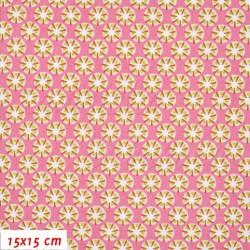 Látka, plátno - Paraplíčka 11 mm na růžové, šíře 160 cm, 10 cm
