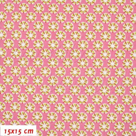 Plátno, Paraplíčka na růžové, 15x15cm