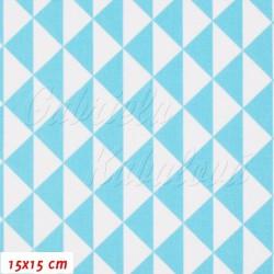 Plátno Trojúhelníky sv. tyrkysové a bílé, 15x15cm