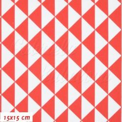 Plátno, Trojúhelníky 3cm bílé a červené, 15x15cm
