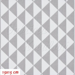 Plátno Trojúhelníky šedé a bílé, 15x15cm