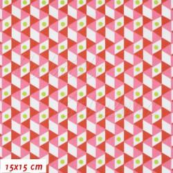 Plátno - Trojúhelníčky červené a bílé se zelenými puntíky, šíře 140 cm, 10 cm