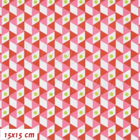 Plátno, Trojúhelníčky červené a bílé s červenými puntíky, 15x15cm